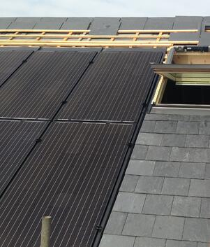 GSE roof solar panels with slate