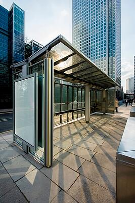 Bus shelter using solar glass
